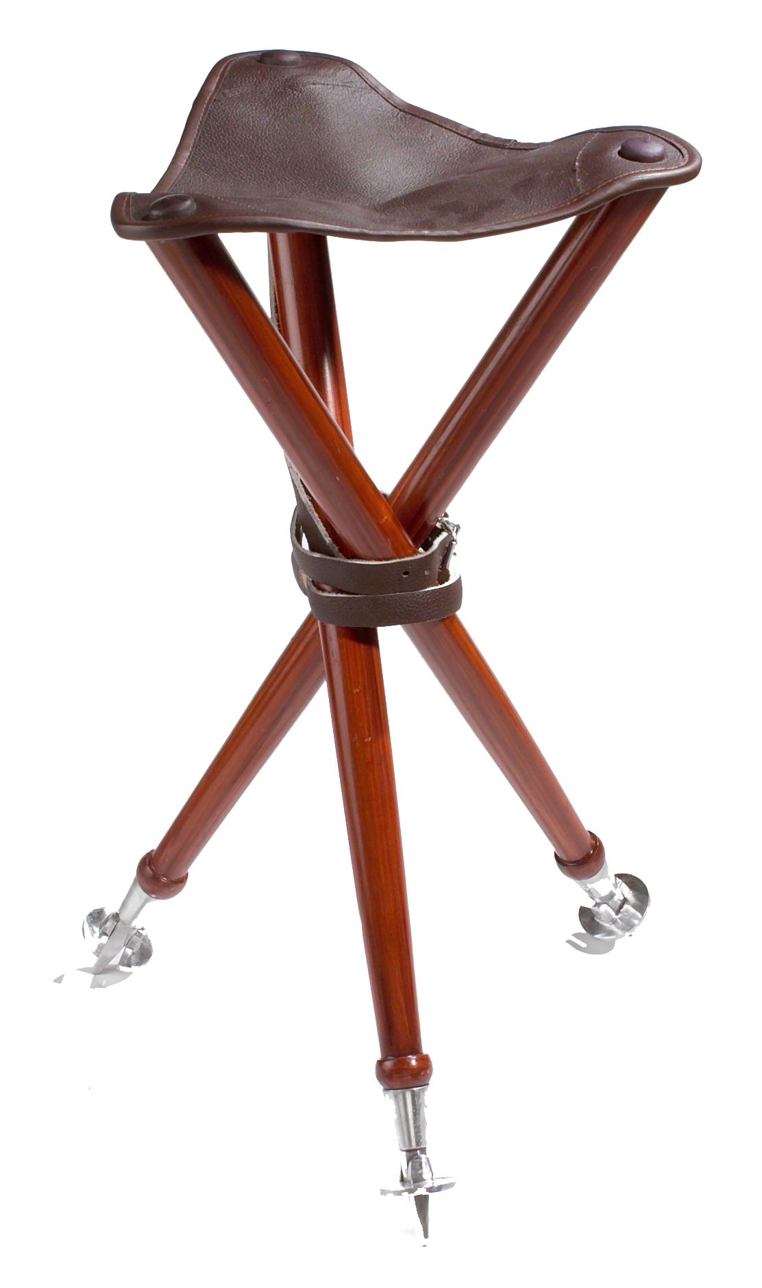 Jagdhocker Dreibein aus Holz mit Ledersitz